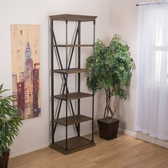 Improve your organization and showcase your favorite books and trinkets with the Brennon Bookshelf. This shelf is constructed with dark khaki-stained wood and a metal support frame, giving this shelf its industrial look. The metal cross back provides extra support and style, not to mention the shelf's size, and sleek, open design provides the right amount of storage space, without the bulk that traditional bookshelves provide. The Brennon Bookshelf is a great solution for all you stylish…