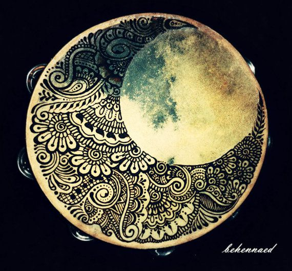 Crescent moon henna tambourine on Etsy.  Perfect for your favorite bohemian gypsy for dancing in the moonlight.  :)  www.facebook.com/behennaed