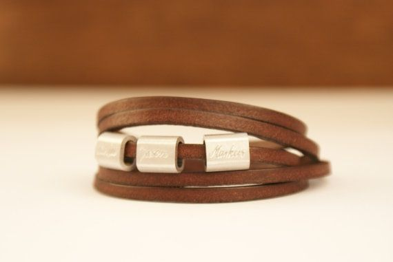 Personalized valentineengraved leather bracelet by TanjaBraun
