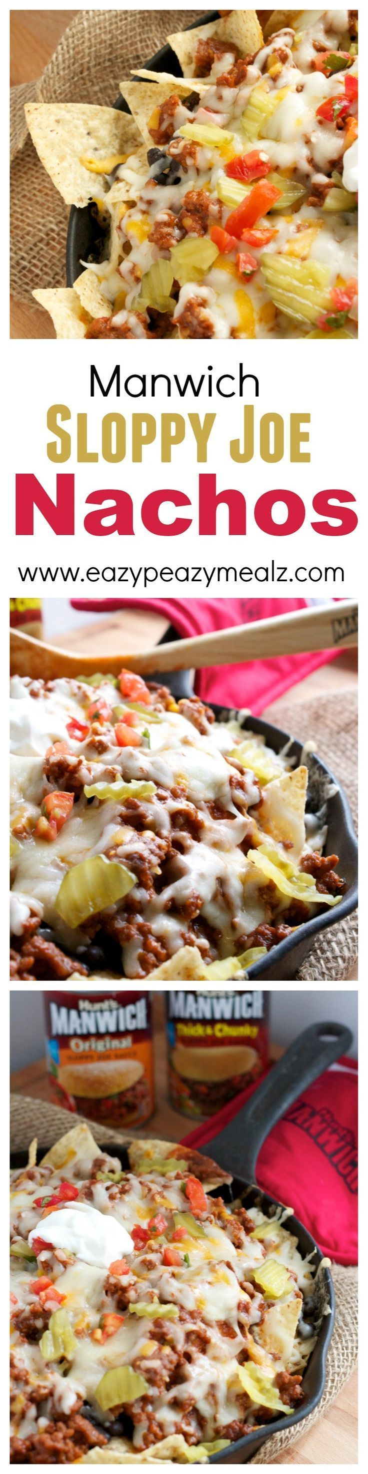 Sloppy joe nachos! Basically the best way to eat sloppy joes ever! And perfect for homegating and sports watching. #ad - Eazy Peazy Mealz