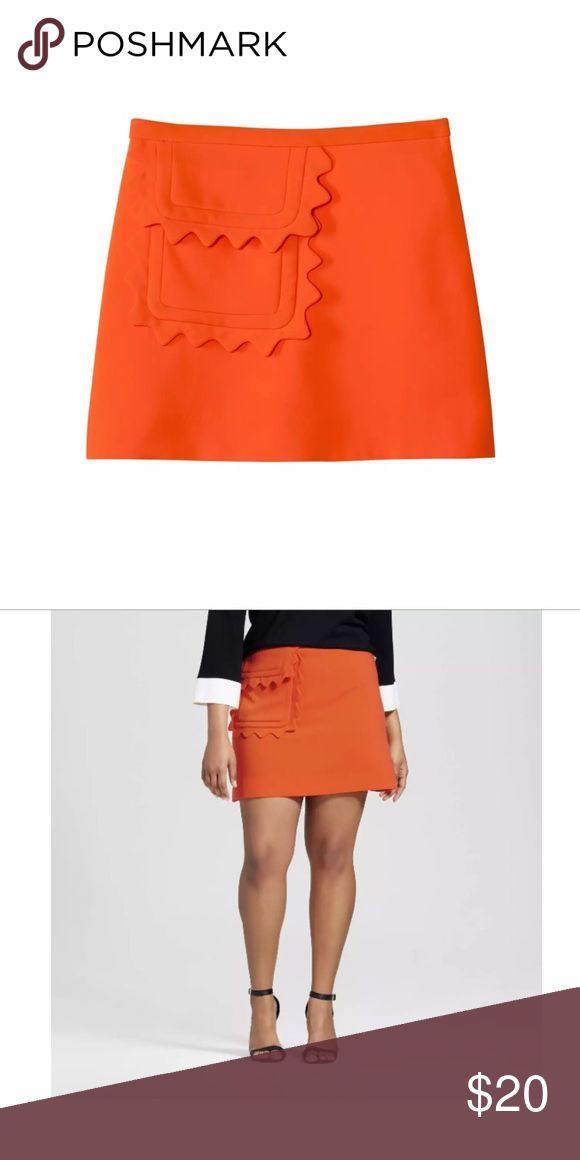 Victoria Beckham Target Twill Skirt Scallop Trim Victoria Beckham for Target women's orange skirt size 3x new with tags  waist measures 26.5 inches  length measures 20 inches Victoria Beckham for Target Skirts