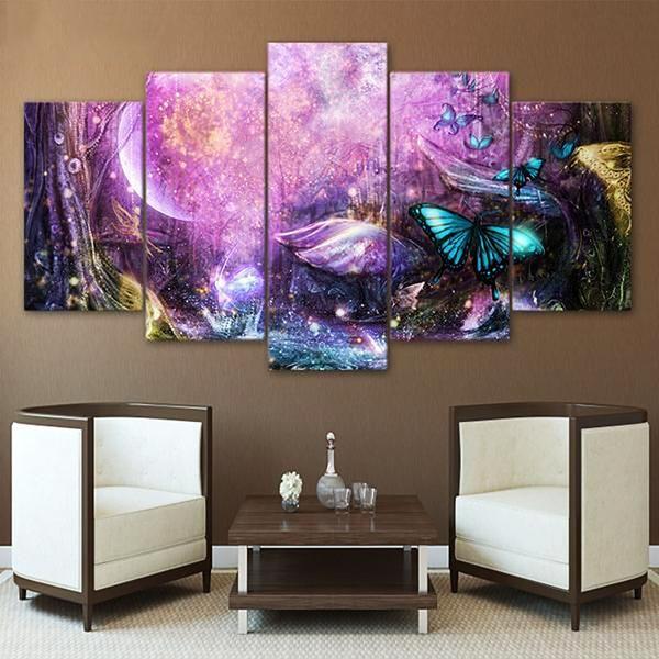 Purple Butterfly Canvas Customized Canvas Art Abstract Canvas Wall Art Light Wall Art