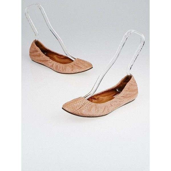 Pre-owned Lanvin Nude Snakeskin Ballet Flats (690 RON) ❤ liked on Polyvore featuring shoes, flats, ballet flats, nude flat shoes, snakeskin flats, nude flats and ballet pumps