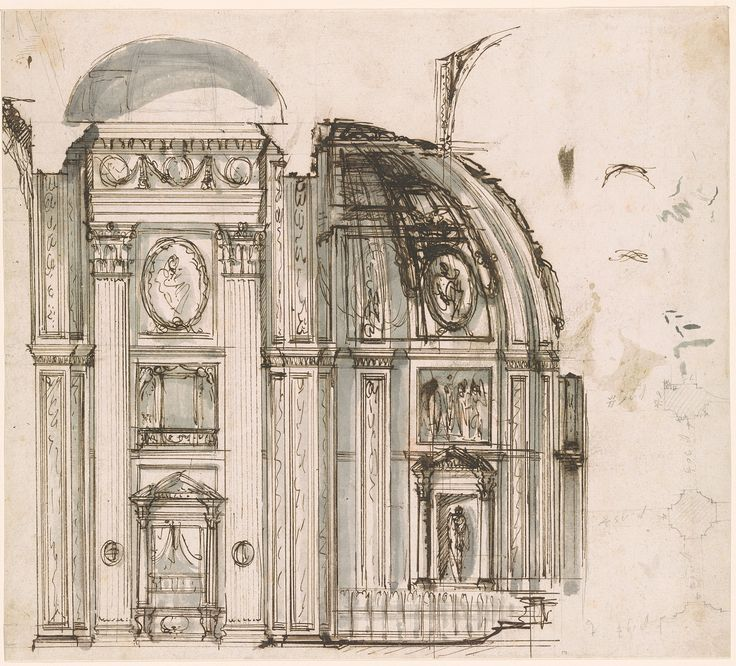 Giovanni Battista Piranesi | 1720-1778 | Section through Choir of San Giovanni in Laterano Showing Proposed Alteration and Sketch of Ground Plan Showing Borromini's Side Nave with Measurements at Right | The Morgan Library & Museum