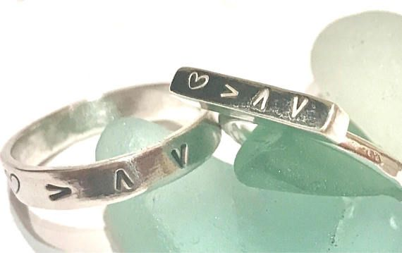 Silver love quote ring love symbols jewellery type one