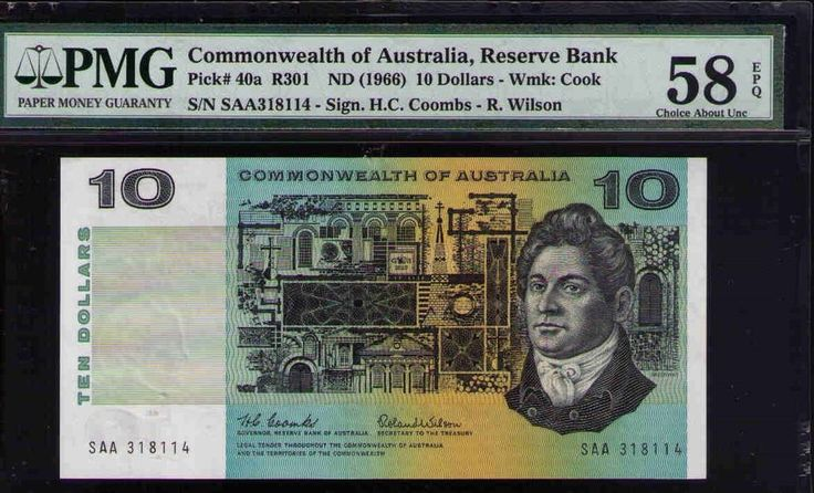 Commonwealth of Australia SAA First Prefix Resrve Bank Pick#40a R301F PMG 58 EPQ