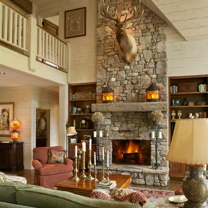Stone Fireplace Wooden Bookshelves Double Height Space