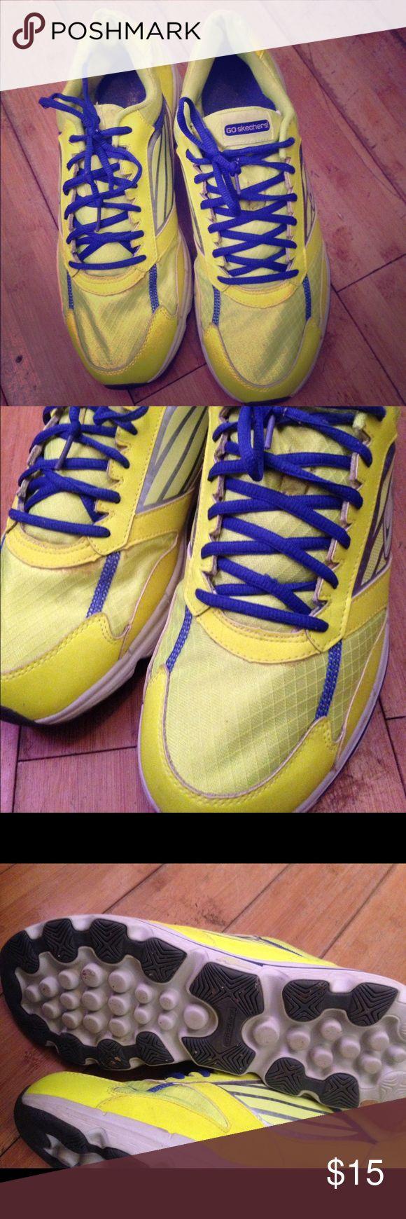 Men's Skechers tennis Neon yellow and navy blue color! Men's size 12.5 Skechers Shoes Athletic Shoes