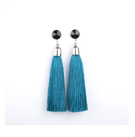 Blue Tassel Earrings. Swarovski Earrings. Stainless Steel stud earrings. by casseljewelry #fashion #handmadejewelry #handmade #jewelry #unique #design #casseljewelry #fashionjewelry #jewelrydesign #etsy #ShopEtsy #EtsyFinds #EtsyForAll