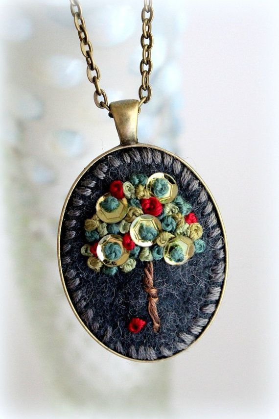 Embroidered Jewelry. Embroidered Necklace. Felt by sewhappygirls