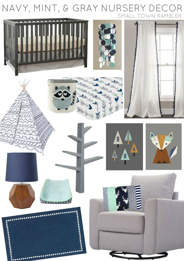 Navy, Mint, and Gray Nursery Decor from Etsy, Target, The Land of Nod, Layla Grayce, and Amazon.