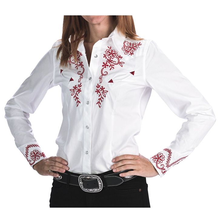 Panhandle Slim Red Hot Floral Embroidered Western Shirt - Snap Front, Long Sleeve (For Women) in 14 Optic White