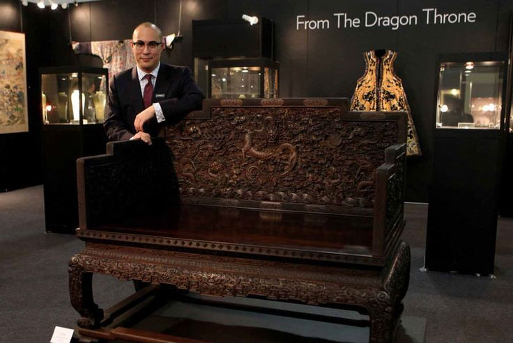 An Outstanding Imperial Carved Zitan Dragon Throne Qing
