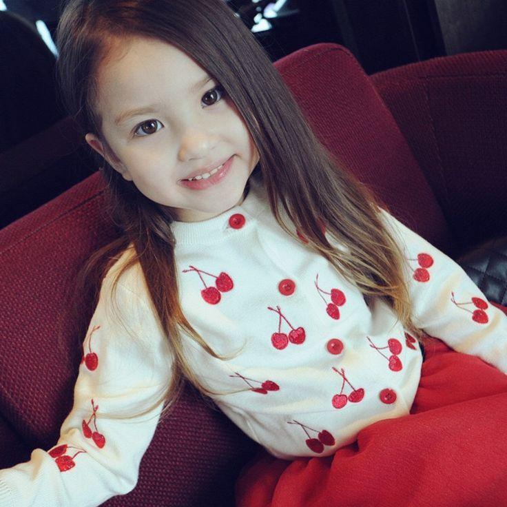 GL4005 2016/17 AW Trendy Girl's Fashion Cherry Embroidery Cardigan