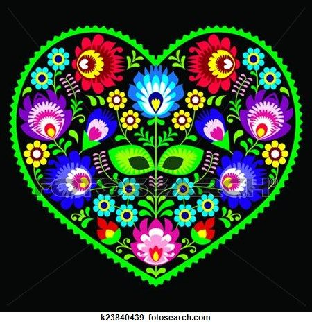 Polish folk art art heart on black View Large Clip Art Graphic