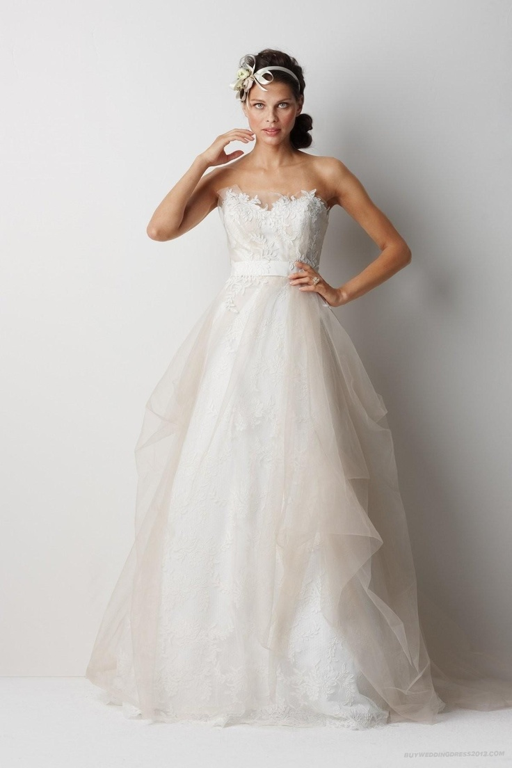 Tulle and Lace Strapless Sweetheart A-line Wedding Dress. $250 at buyweddingdress2013.com
