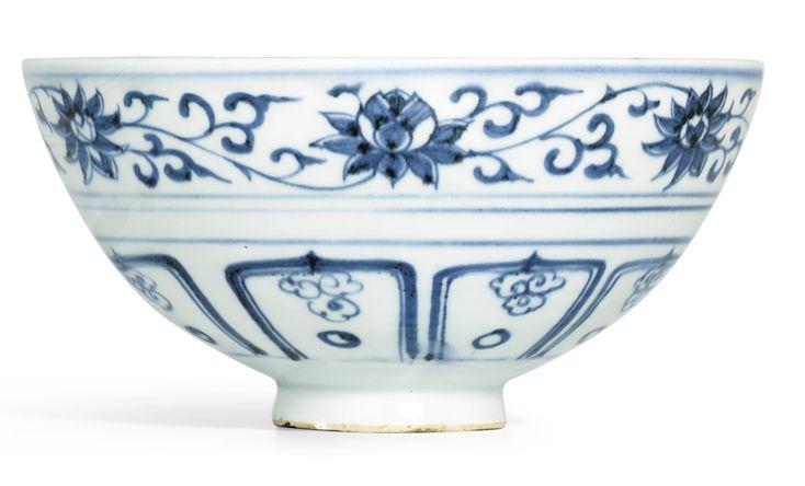A blue and white 'Mandarin ducks' bowl, Yuan dynasty