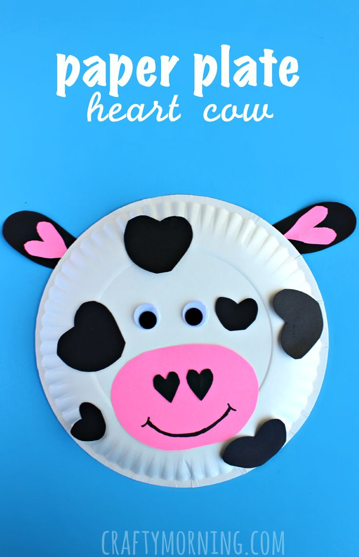 Paper plate heart cow craft - cute Valentines Day craft for kids!  | CraftyMorning.com