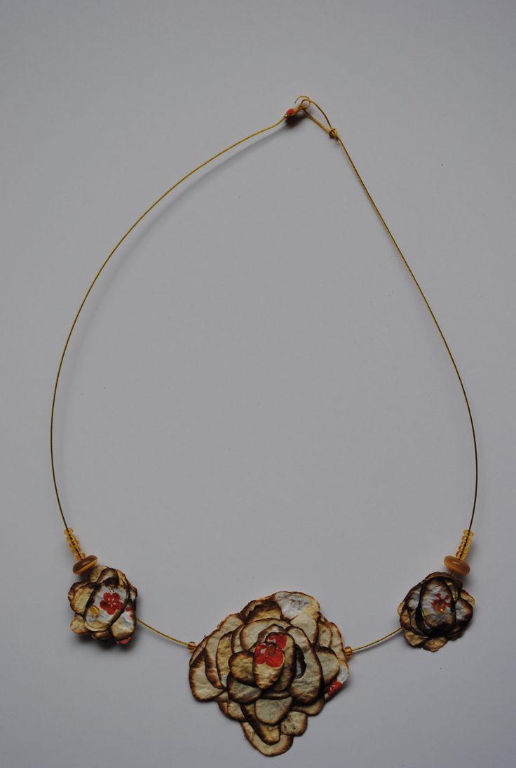 japanese paper necklace, collar en papeles japoneses