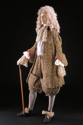 James II's marriage suit, England, 1673. Wool embroidered with silver & silver-gilt thread, lined with red silk.