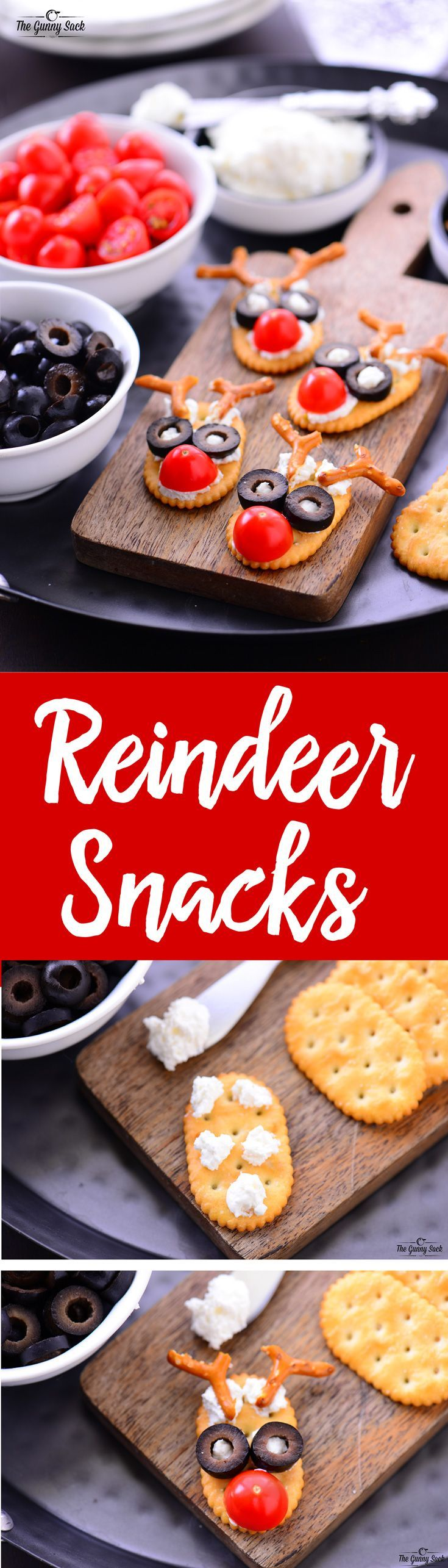 These simple, delicious Reindeer Snacks are sure to bring smiles to the faces of kids of all ages. They would be great for a holiday party, potluck or even as an after school snack! @CalRipeOlives #ad