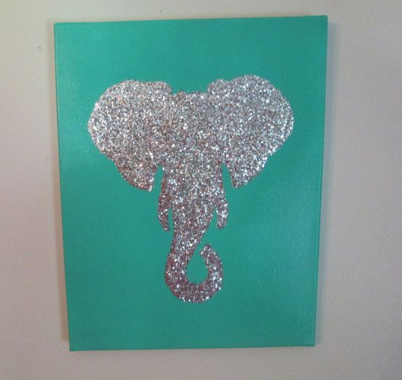 Customized 11x14 Glittered Elephant or Deer Silhouette Canvas Art. on Etsy, $15.95