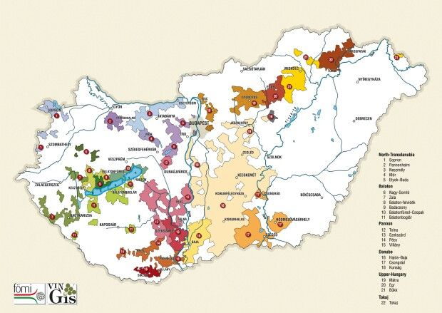 Hungarian wine regions - we have a vineyard at the most western part of region 14.