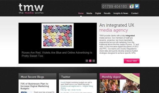 TMW is a media company based in the UK that offers clients a fully integrated digital media strategy. TMW requested an innovative yet minimalistic website design that effectively combines their social media profiles, blog posts and a useful list of the services they provide on the digital media front. The emphasis here is on creativity and new media and the endless possibilities thereof for TMW's potential clients.