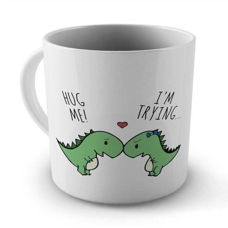 Hug Me Im Trying Funny Dinosaur Cool Retro Mug Cup Gift for Office Home Work #WeHaveAny
