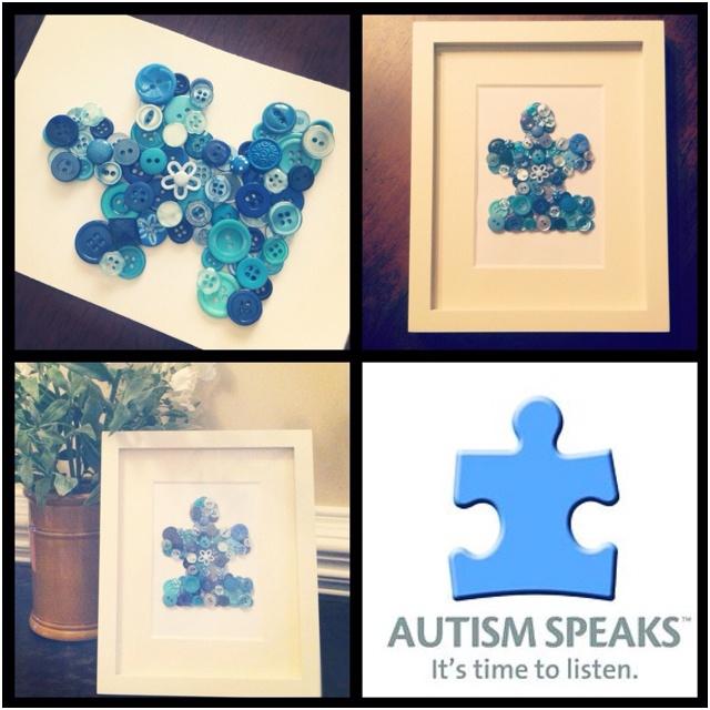 {Autism awareness button art}