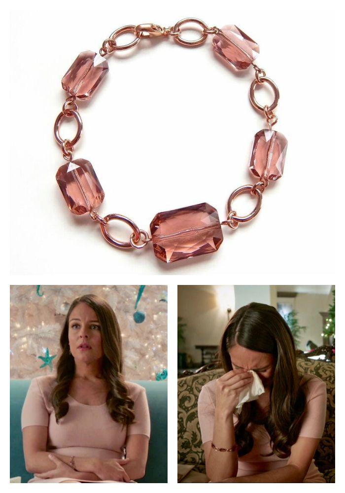 Handmade rose gold crystal bracelet worn on Jane the Virgin. Season 2, episode 8. Made with Swarovski Crystals. Gifted via The Artisan Group.