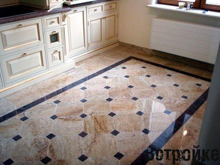 Дизайн пола на кухне - 22 фото