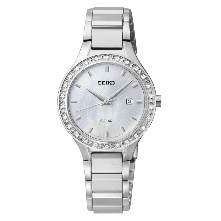 This brilliant women's timepiece features a solar powered quartz movement and stainless steel bracelet with a fold over clasp for every day wear. Finished with a textured silvertone bezel and elegant mother of pearl dial.