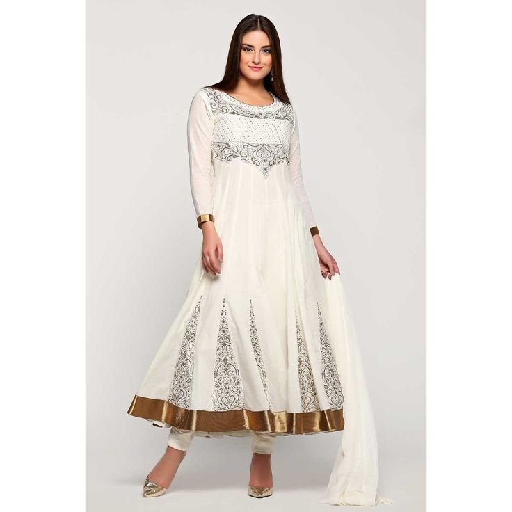 Diya online collection, Anarkali churidar cotton asian prom suit, Off white zari embroidered punjabi wear now in shop. Andaaz Fashion brings latest designer ethnic wear collection in UK  http://www.andaazfashion.co.uk/salwar-kameez/anarkali-suits/off-white-cotton-anarkali-churidar-suit-with-dupatta-1781.html