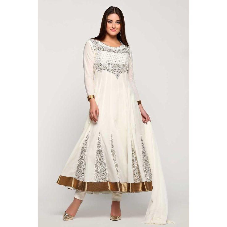 Dieudonné en ligne collection, costume asiatique prom Anarkali churidar coton, Off zari blanc brodé usure panjabi dans la boutique. Andaaz mode apporte la dernière collection de vêtements ethniques de créateurs en FR  http://www.andaazfashion.fr/salwar-ka