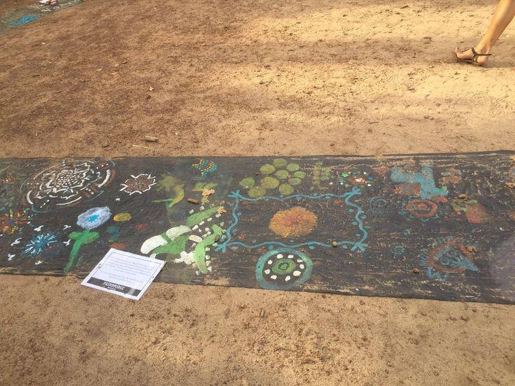 Paintings at the Rainbow Serpent Project at Fairbridge Festival. See more at www.fairbridgefestival.com.au