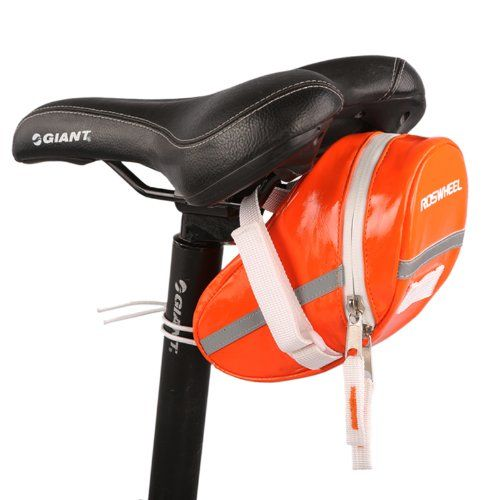 Roswheel Bicycle Saddle Outdoor Pouch Seat Bag Bicycle Tail Bag Water Resistant Orange