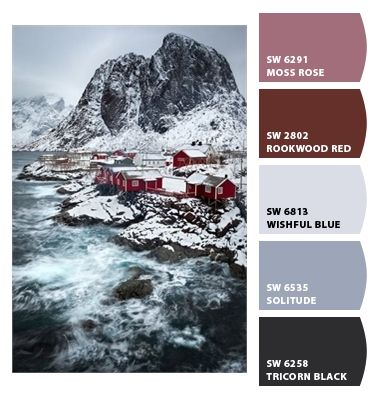 Frosty foggy blues light grey grayish blue icy cool cold purples and maroon palette sophisticated masculine yet lady-like dining room kitchen bedroom guest room study muted deep scheme branding #Paint colors from #ChipIt! by #SherwinWilliams