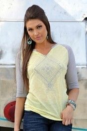 Cruel Girl® Ladies' Yellow and Grey 3/4 Sleeve