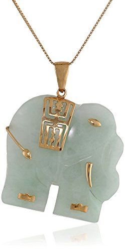 "14k Yellow Gold Green Jade Carved Elephant Chain Pendant Necklace, 18"":"