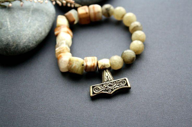 "Bracelet made of natural stone! Suspension of bronze handmade ""Hammer of Thor"" Price 35 $"