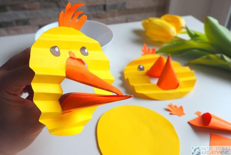Kurczak z papieru z ruchomym dziobem