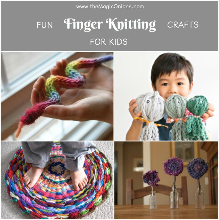 Teach kids how to FINGER KNIT with this easy tutorial. Included are fun FINGER KNITTING PROJECTS too.