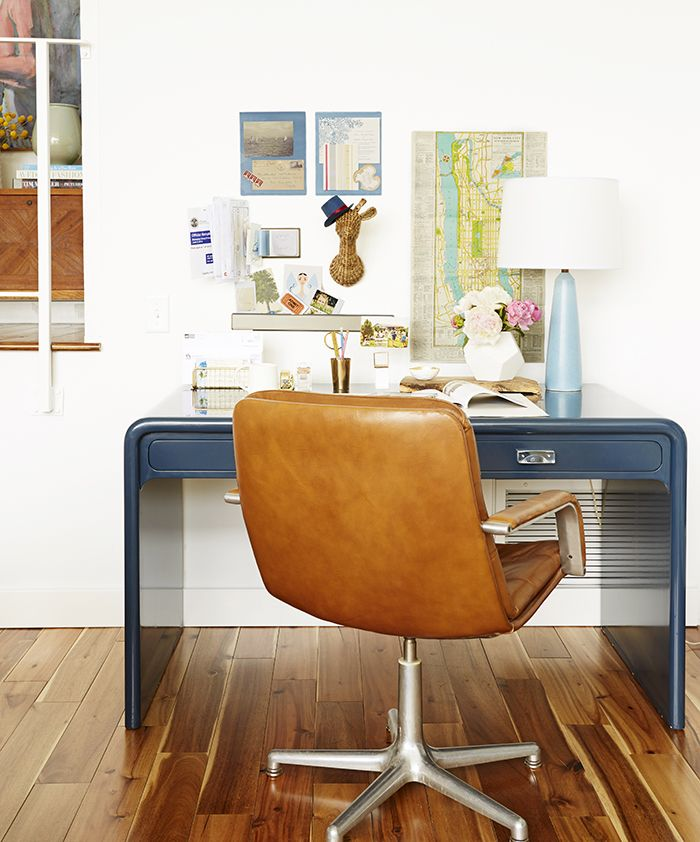 Vintage furniture makeovers - desk was painted and lacquered in Galapagos Blue from Benjamin Moore