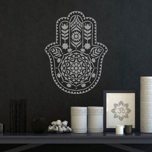 Hamsa Hand Mandala Stencil from Cutting Edge Stencils. http://www.cuttingedgestencils.com/hamsa-hand-mandala-stencil.html