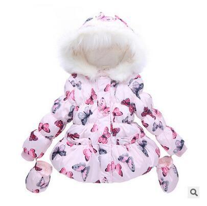 O envio gratuito de Crianças meninas borboleta gola de pele casaco de inverno crianças Bebê jaqueta acolchoada
