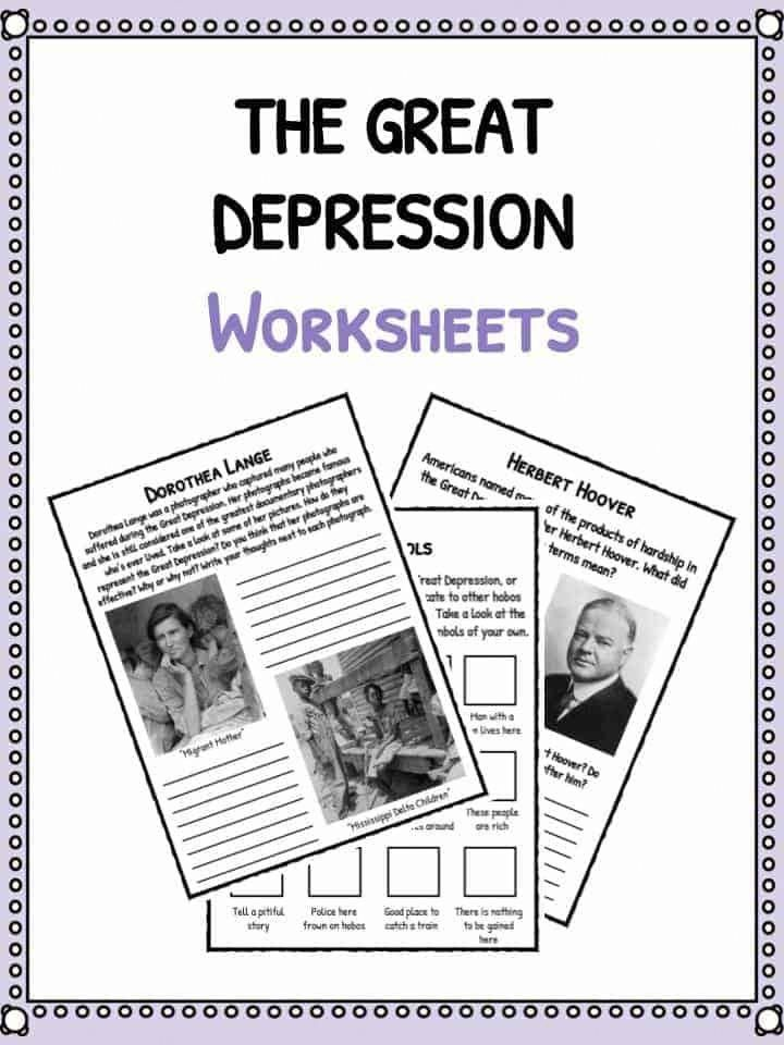 The Great Depression Facts Information Worksheets School