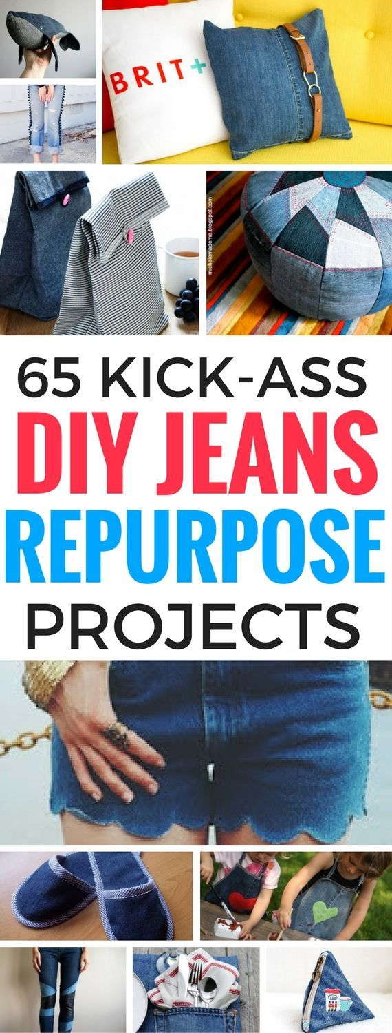 The Best 65 Ways To Reuse, Upcycle And Repurpose Old Jeans and turn them into great, usable things to wear or simply to add to your home decor. Trust me, you'll regret getting rid of all your old jeans. Gosh, I wish I hadn't!