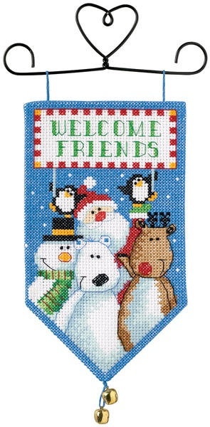 "Banners Santa & Friends Mini Counted Cross Stitch Kit - 10"" Long"