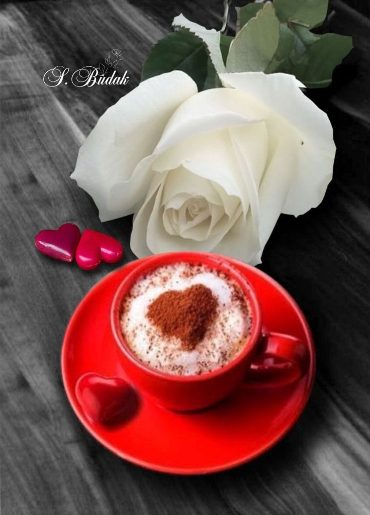 Открытка с добрым утром розы и кофе, именинники